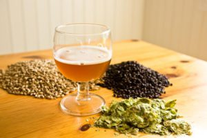 Homebrew grains and hops