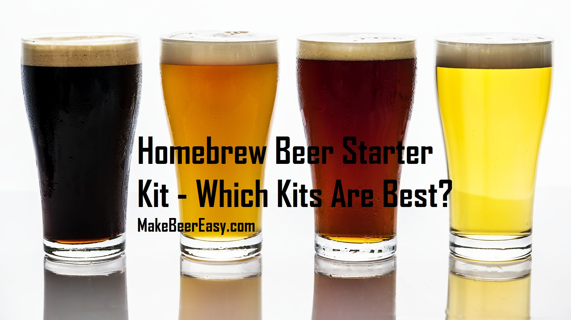 four glasses of beer made from beer kits