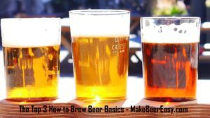a flight of 3 home brewed beers blonde kolsch pale ale