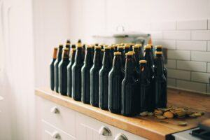 Bottled Homebrewed beer on Shelf