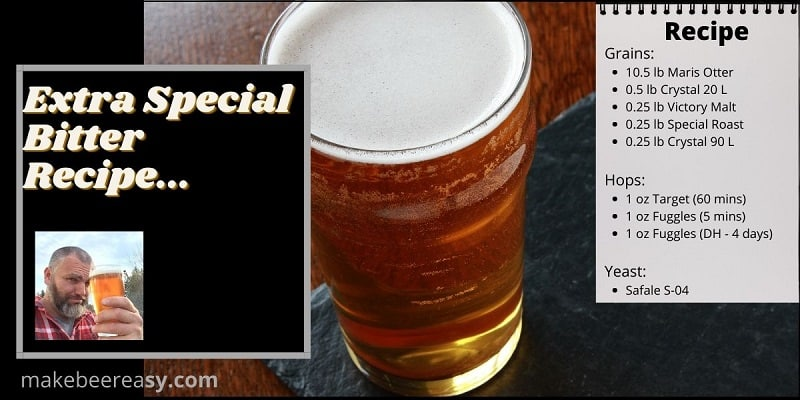 A extra special bitter recipe next to a pint of ESB on a desk.