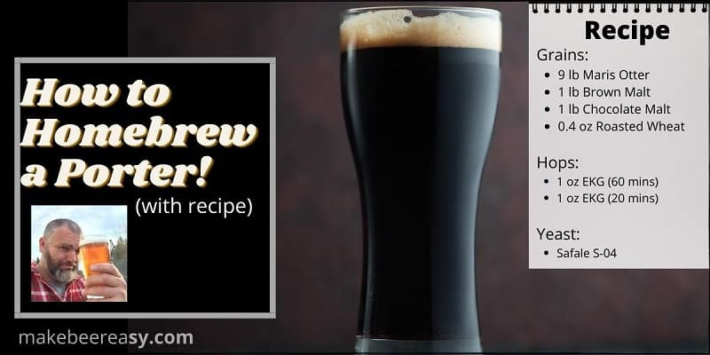 A Porter Ale on a bar with the works How to homebrew a porter written next to it.